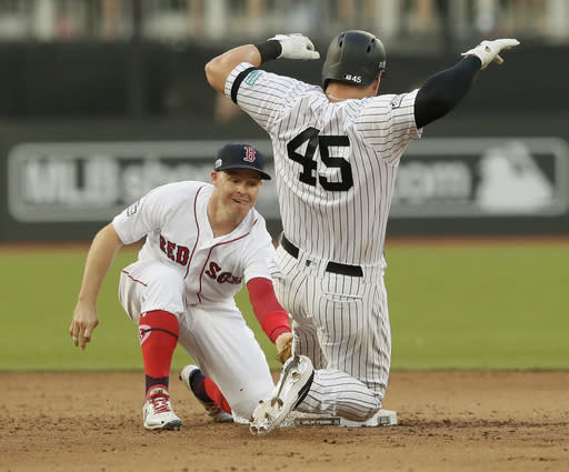 New York Yankees' Luke Voit slides safely into second base beside Boston Red Sox's Brock Holt after hitting a double during the fifth inning of a baseball game, Saturday, June 29, 2019, in London. Major League Baseball made its European debut game Saturday at London Stadium. (AP Photo/Tim Ireland)