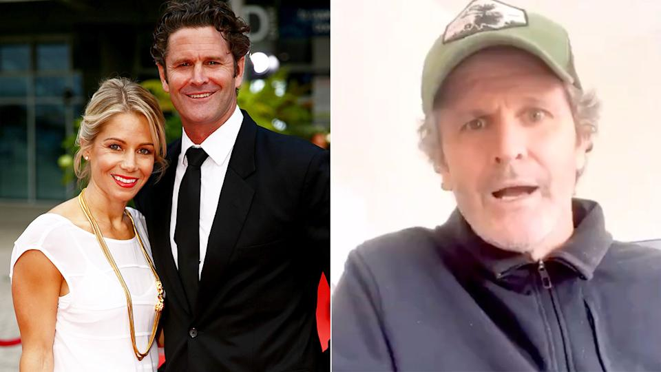 Chris Cairns is seen on the right speaking publicly about his terrifying health scare.