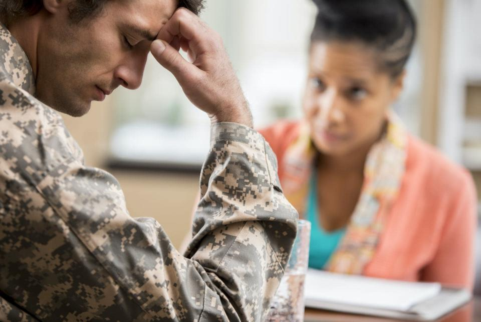 """<span class=""""caption"""">PTSD is typically treated with therapy and sometimes medications, under the care of a psychiatrist. </span> <span class=""""attribution""""><a class=""""link rapid-noclick-resp"""" href=""""https://www.gettyimages.com/detail/photo/depressed-veteran-meets-with-psychologist-royalty-free-image/639017362?adppopup=true"""" rel=""""nofollow noopener"""" target=""""_blank"""" data-ylk=""""slk:SDI Productions/Getty Images"""">SDI Productions/Getty Images</a></span>"""