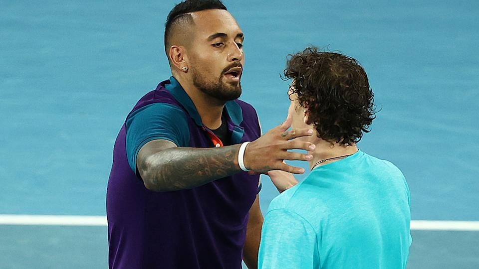 Nick Kyrgios, pictured here embracing Ugo Humbert after their match at the Australian Open.