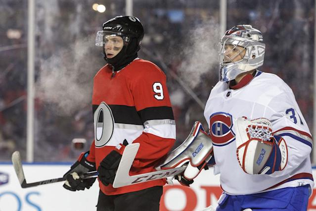 <p>In frigid conditions, the Ottawa Senators beat the rival Montreal Canadiens in the NHL 100 Classic. (Photo by Francois Laplante/Getty Images/Freestyle Photo) </p>