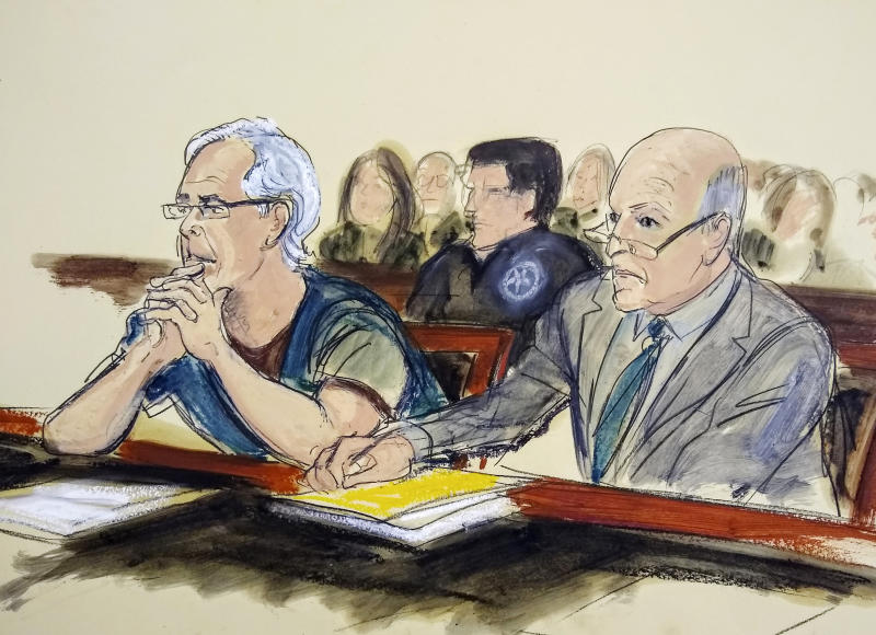 FILE - In this July 15, 2019 courtroom artist's sketch, defendant Jeffrey Epstein, left, and his attorney Martin Weinberg listen during a bail hearing in federal court, in New York. Officials say the FBI and U.S. Inspector General's office will investigate how Epstein died in an apparent suicide, while the probe into sexual abuse allegations against the well-connected financier remains ongoing. A person familiar with the matter says Epstein, accused of orchestrating a sex-trafficking ring and sexually abusing dozens of underage girls, had been taken off suicide watch before he killed himself Saturday, Aug. 10, 2019, in a New York jail.  (Elizabeth Williams via AP, File)
