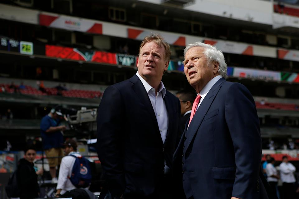 NFL Commissioner Roger Goodell, left, talks with New England Patriots owner Robert Kraft before the Patriots face the Oakland Raiders in an NFL football game Sunday, Nov. 19, 2017, in Mexico City. (AP Photo/Rebecca Blackwell)