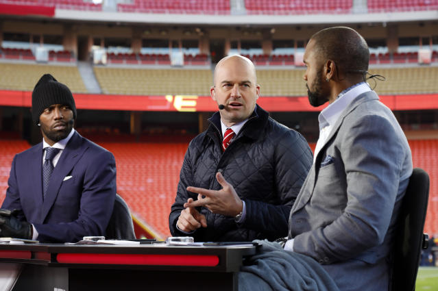 Matt Hasselbeck (center) will be ESPN's color commentator for its Pro Bowl broadcast. (AP)