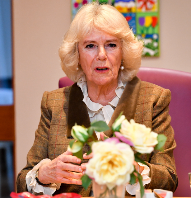 Camilla, Duchess of Cornwall at a hospice wearing a brown coat and white shirt