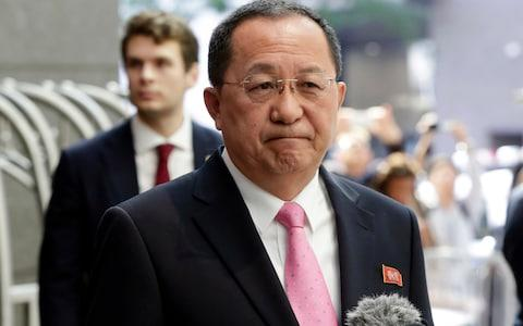 "North Korea's Foreign Minister Ri Yong-ho says Donald Trump has ""declared war on our country"" - Credit: AP"