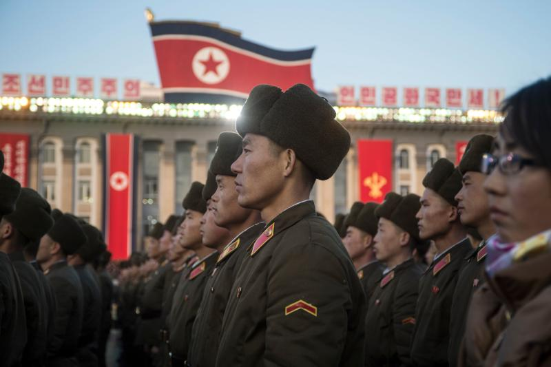 North Korean soldiers attend a mass rally in Pyongyang to celebrate North Korea's declaration on Nov. 29 it had achieved full nuclear statehood. (KIM WON-JIN via Getty Images)