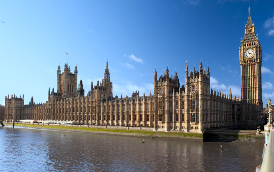 Houses of Parliament with popular clock tower Big Ben in London.