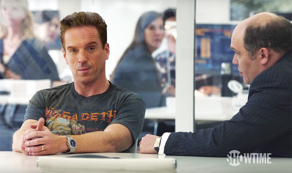 """<p><b>The Season's Theme:</b> Billionaire hedge fund manager Bobby Axelrod and U.S. Attorney Chuck Rhoades """"have a growing obsession with taking the other down,"""" says co-showrunner David Levien. <br /><br /><b>Where We Left Off: </b> Axelrod (Damian Lewis) tore up — literally — the Axe Capital offices looking for surveillance bugs, and Chuck (Paul Giamatti) visited him at the trashed building to warn him that, with his wife Wendy (Maggie Siff) turning her back on their marriage, he had nothing left to lose. <br /><br /><b>Coming Up: </b> Showdowns galore. If Chuck seemed to get the last word with Bobby in the Season 1 finale, fortunes may be reversed — temporarily, at least — by the end of the Season 2 premiere. Rhoades's cohort Bryan Connerty (Toby Leonard Moore), who began losing faith in his boss right around the time Axe offered him a much more lucrative job last season. """"Connerty's soul is in the balance,"""" Levien says. """"His sense of integrity versus his ambition to succeed and rise in the legal profession, it's really up for grabs this season."""" <br /><br /><b>Familiar Faces: </b> <i>Weeds</i> star Mary-Louise Parker guests as strategist George Minchak, while other Season 2 guest stars will include Rob Morrow, Danny Strong, and Eric Bogosian. """"Eric Bogosian is a guy that's been a huge influence on us as writers,"""" says Levien. """"We really gave his character a lot of really fun, intense scenes to play."""" <i>— KP</i> <br /><br />(Credit: Showtime) </p>"""