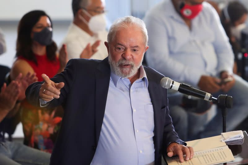 FILE PHOTO: Brazil's former President Lula attends a news conference in Sao Bernardo do Campo