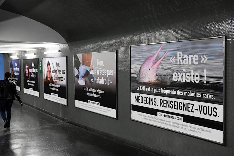 Ads posted in the Paris Metro as  fragment of a public-awareness campaign about CMT. CMT advocates  dispute the disease affects about 1 person in 2,500 worldwide.