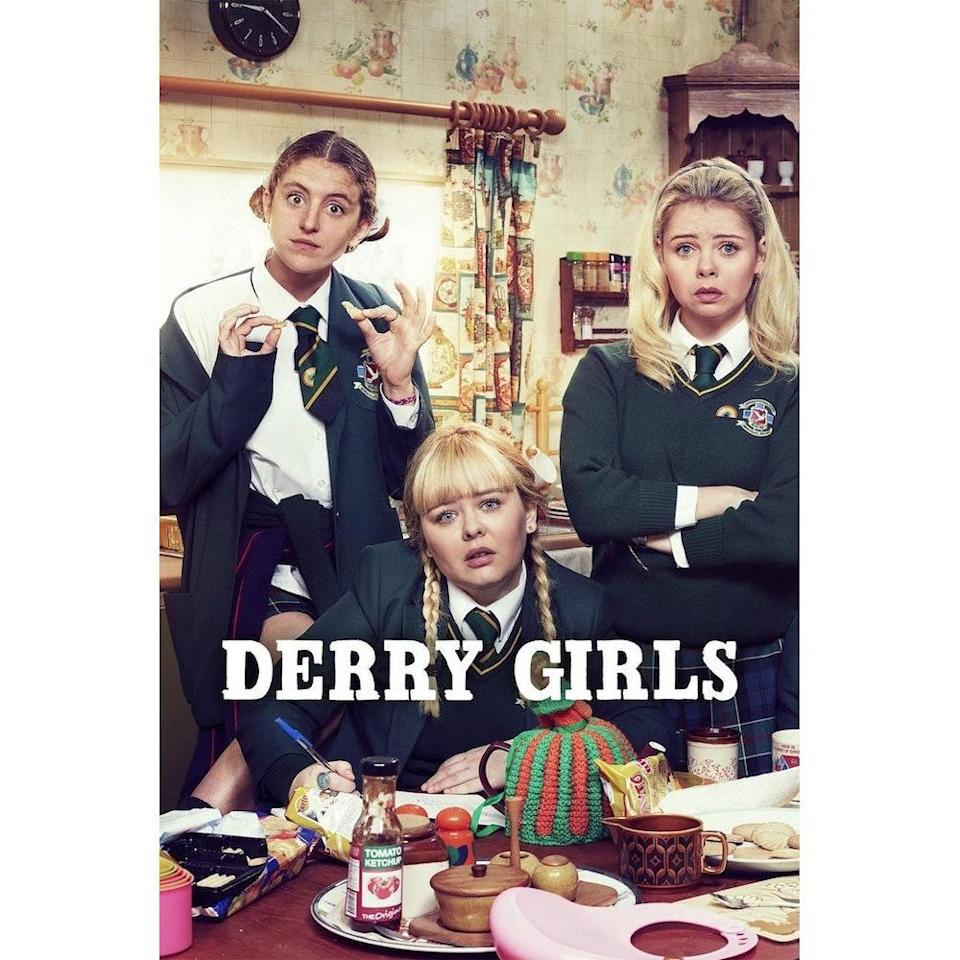 """<p>I just rewatched both seasons of <em>Derry Girls</em> on Netflix, an excellent show set in northern Ireland during the Troubles that centers around a sassy group of Catholic high school girls (plus James, an English boy, but also a Derry girl). I can't get enough of this show. The cast of friends has excellent, close-knit rapport. They're hilariously biting and constantly getting into shenanigans (like flooding toilets at funerals, digging up dead dogs, trying to secure prom dates). You also spend a lot of time with the lead character, Erin's, eccentric, very Irish, family. The characters are wonderfully rich, the 90s fashion is constantly amusing (so much hair gel), and the historical context of living in a conflict zone gives it this added layer of meaning. I expected it to just be another silly, coming-of-age show, but season two's finale episode, set against the backdrop of <a href=""""https://www.express.co.uk/showbiz/tv-radio/1161760/Derry-Girls-season-2-did-Bill-Clinton-really-go-Derry-Northern-Ireland-Netflix-Channel-4"""" rel=""""nofollow noopener"""" target=""""_blank"""" data-ylk=""""slk:Bill and Hillary Clinton's visit to Derry"""" class=""""link rapid-noclick-resp"""">Bill and Hillary Clinton's visit to Derry</a>, left me in tears. Season three's filming is on hold because of the pandemic, but the first two are still worth a watch if you need a bit of levity. —<em>Malia Griggs, commerce editor</em></p> <p><strong>Watch it</strong>: Free with subscription, <a href=""""https://www.netflix.com/title/80238565"""" rel=""""nofollow noopener"""" target=""""_blank"""" data-ylk=""""slk:netflix.com"""" class=""""link rapid-noclick-resp"""">netflix.com</a></p>"""