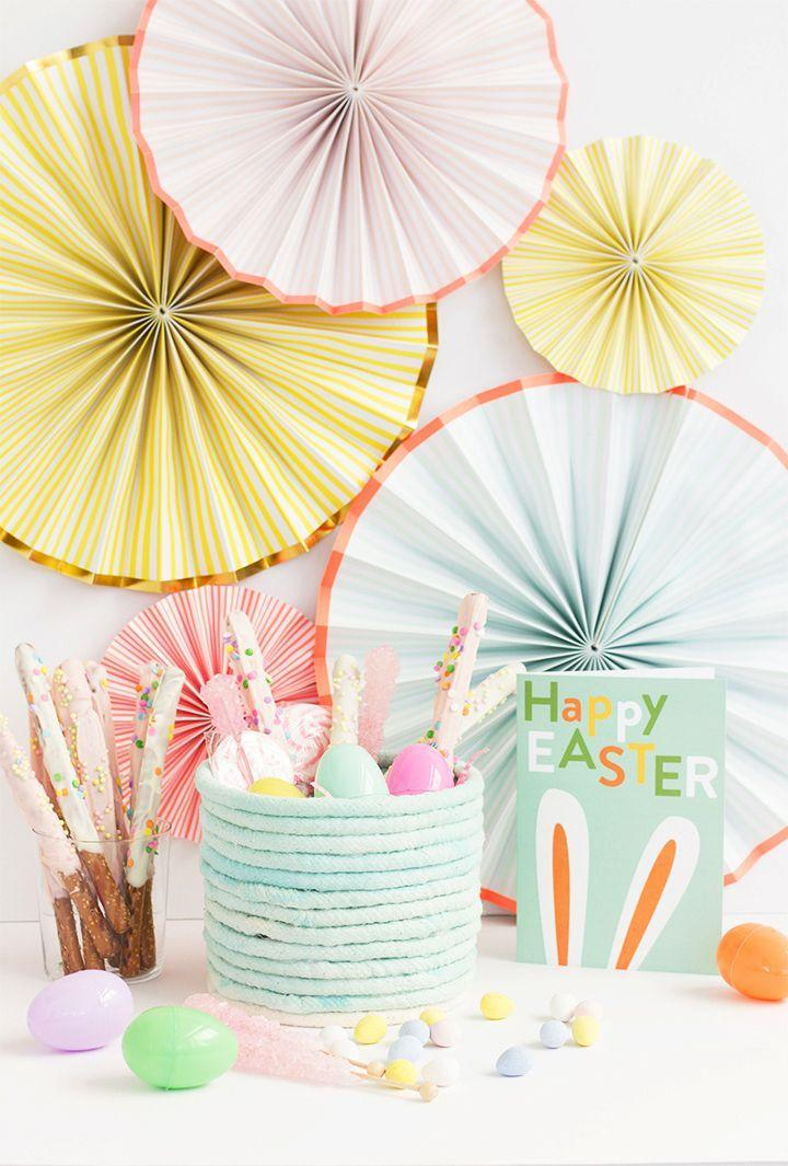 "<p>For something a little more colorful, dip-dye the rope in acrylic craft paint first. </p><p>Get the tutorial at <a href=""https://www.aliceandlois.com/diy-no-sew-rope-easter-basket/"" rel=""nofollow noopener"" target=""_blank"" data-ylk=""slk:Alice and Lois."" class=""link rapid-noclick-resp"">Alice and Lois.</a></p><p><a class=""link rapid-noclick-resp"" href=""https://www.amazon.com/Apple-Barrel-Acrylic-Assorted-J20401/dp/B0018N6IPY/?tag=syn-yahoo-20&ascsubtag=%5Bartid%7C10072.g.30506642%5Bsrc%7Cyahoo-us"" rel=""nofollow noopener"" target=""_blank"" data-ylk=""slk:SHOP PAINT"">SHOP PAINT</a></p>"