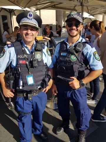 Const Aaron Vidal (right) is pictured with his father David, a duty officer, who he worked with at the Day Street Police Station in Sydney's CBD.