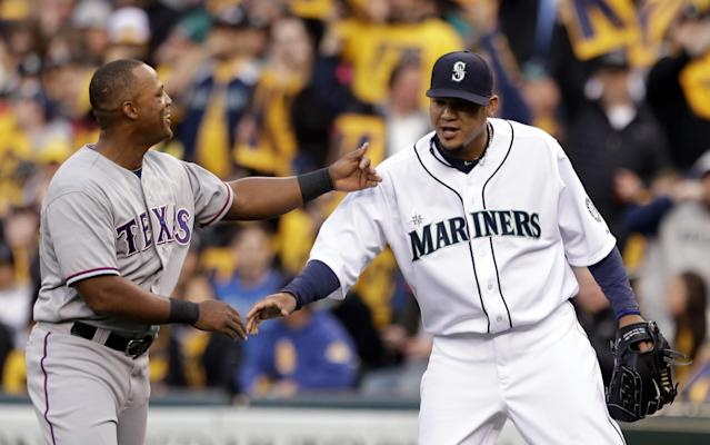 Mariners pitcher Felix Hernandez loved to playfully get under the skin of Adrian Beltre during his time in Seattle. (AP Images)