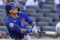 Chicago Cubs Javier Baez watches his first-inning, two-run home run off New York Mets starting pitcher Marcus Stroman in a baseball game Thursday, June 17, 2021, in New York. The two runs held up as the Cubs won 2-0. (AP Photo/Kathy Willens)