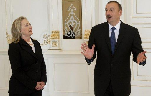 Azeri President Ilham Aliyev holds talks with US Secretary of State Hillary Clinton in Baku