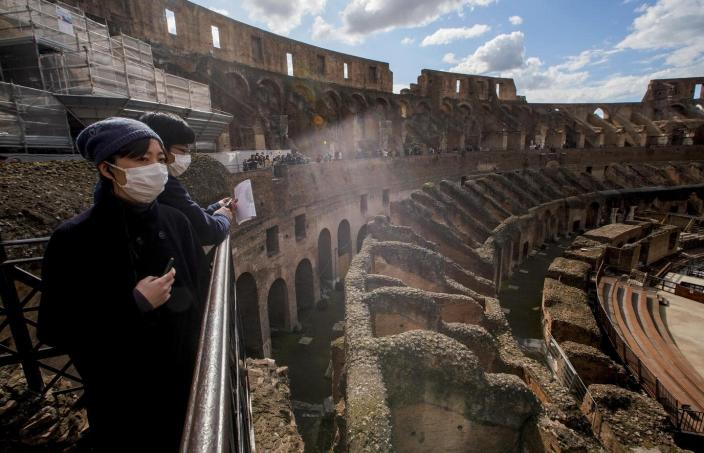 In Rome, a normally packed Colosseum is virtually empty.AP Photo/Andrew Medichini