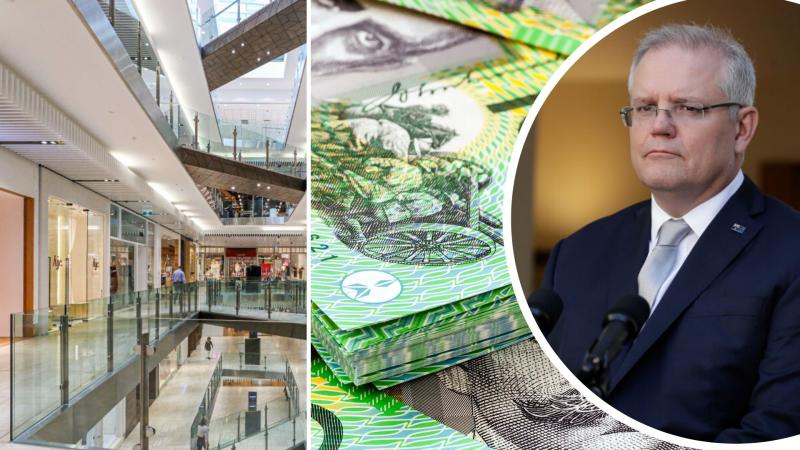 Pictured: Prime Minister Scott Morrison, Australian cash, deserted Australian shopping centre.