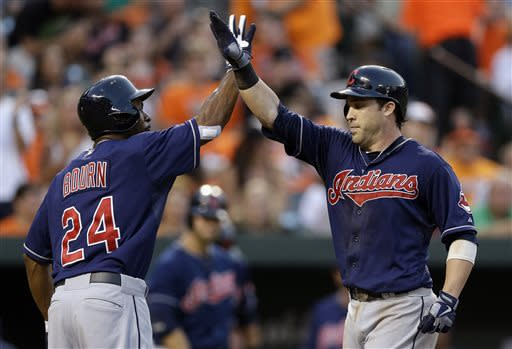 Cleveland Indians' Michael Bourn, left, greets teammate Jason Kipnis at home plate after Kipnis batted him in on a two-run home run in the fifth inning of a baseball game against the Baltimore Orioles, Tuesday, June 25, 2013, in Baltimore. (AP Photo/Patrick Semansky)