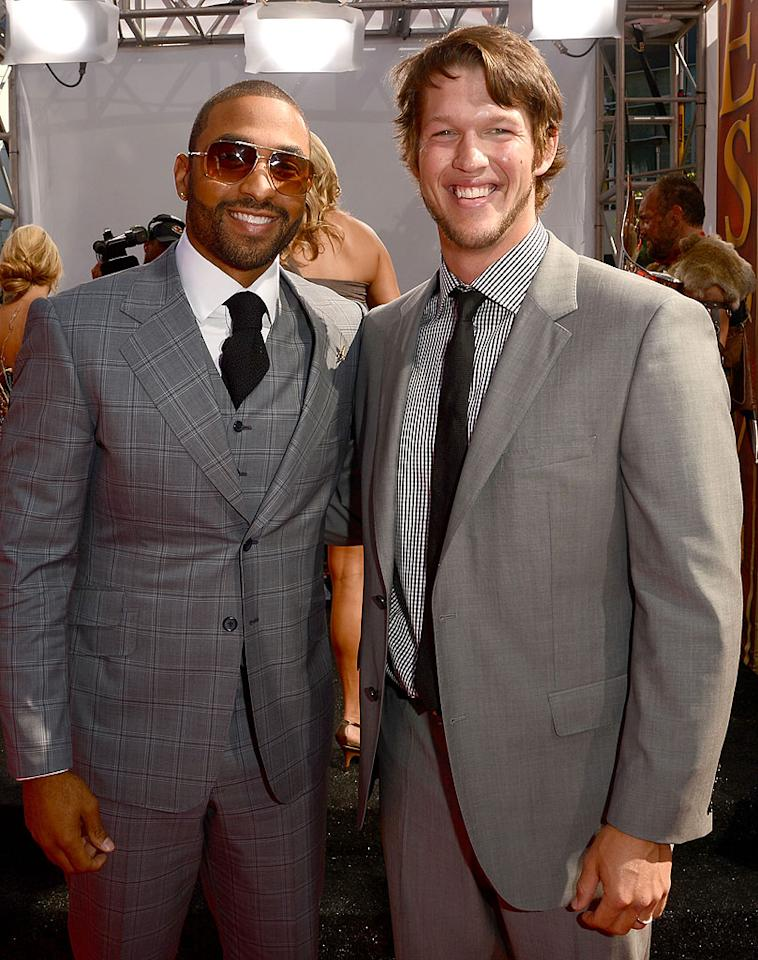 Los Angeles Dodgers outfielder Matt Kemp and pitcher Clayton Kershaw arrive at the 2012 ESPY Awards.