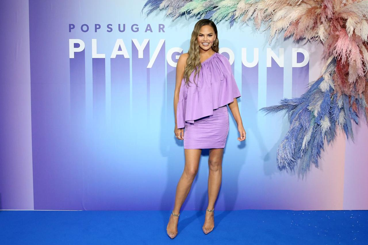<p><strong>23 June </strong>Chrissy Teigen turned heads in a one-shouldered lilac offering at a Popsugar event in New York. <strong></strong></p>