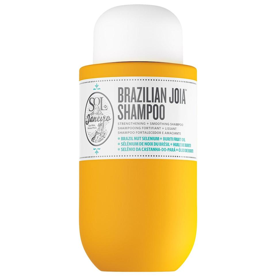 <p>Just like this brand's Bum Bum cream evokes a beach in Brazil, the <span>Sol de Janeiro Brazilian Joia Strengthening + Smoothing Shampoo</span> ($12-$25) cleanses hair without the sulfates, while also transporting you to the tropics. </p>