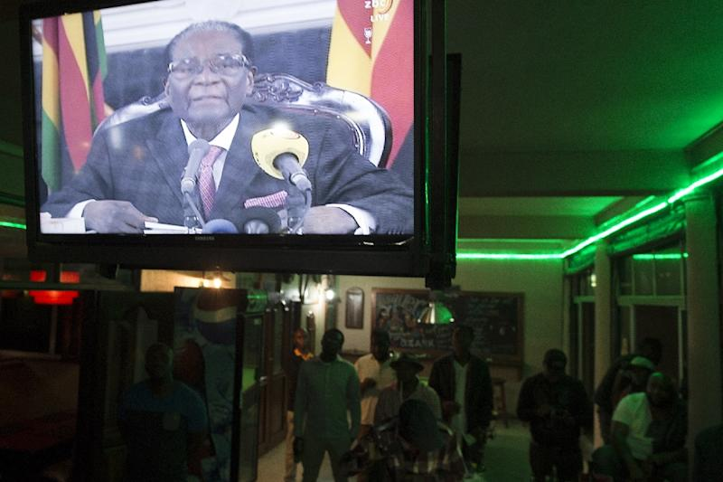 Millions of Zimbabweans tuned in to Mugabe's TV announcement on November 19 -- but he confounded expectations that he would step down (AFP Photo/STR)
