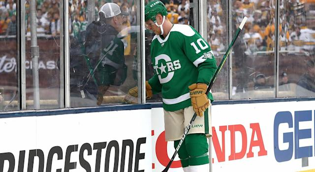 Corey Perry #10 of the Dallas Stars leaves the game on a misconduct in the first period of the Bridgestone NHL Winter Classic against the Nashville Predators at Cotton Bowl on January 01, 2020 in Dallas, Texas. (Photo by Ronald Martinez/Getty Images)