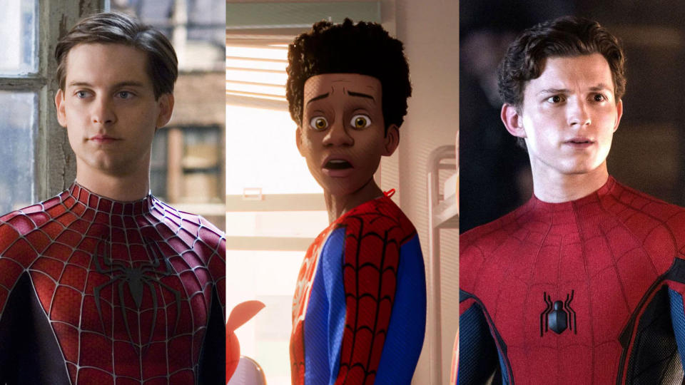 Tobey Maguire, Tom Holland and Andrew Garfield almost showed up in 'Spider-Man: Into the Spider-Verse'. (Credit: Sony/Marvel)