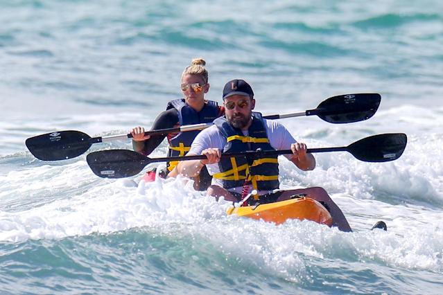 <p>Speaking of Affleck, the actor took a break from filming the 2019 action movie <i>Triple Frontier</i> on the island long enough to try out kayak surfing with Shookus. (Photo: Backgrid) </p>