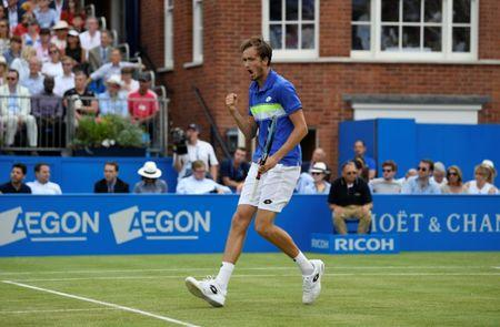 Tennis - Aegon Championships - Queen's Club, London, Britain - June 23, 2017   Russia's Daniil Medvedev celebrates during his quarter final match against Bulgaria's Grigor Dimitrov   Action Images via Reuters/Tony O'Brien