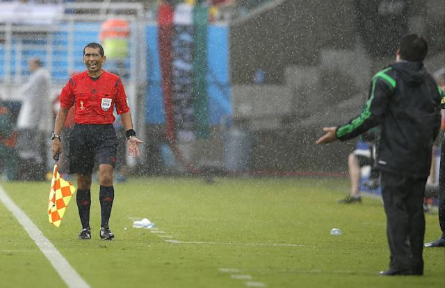 Assistant referee Humberto Clavijo from Colombia argues with Mexico's head coach Miguel Herrera, right, during the first half of the group A World Cup soccer match between Mexico and Cameroon in the Arena das Dunas in Natal, Brazil, Friday, June 13, 2014. (AP Photo/Eduardo Verdugo)
