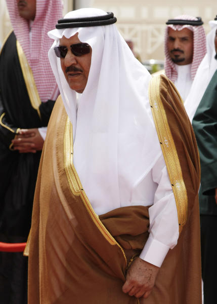 FILE - In this Tuesday, May 5, 2009 file photo, Prince Nayef bin Abdel-Aziz, is seen in Riyadh, Saudi Arabia. The Saudi royal family said Saturday, June 16, 2012 that Crown Prince Nayef has died. He was in his late 70s. Nayef was the hard-line interior minister who spearheaded Saudi Arabia's fierce crackdown crushing al-Qaida's branch in the country and then rose to become next in line to the throne. (AP Photo/Hassan Ammar, File)