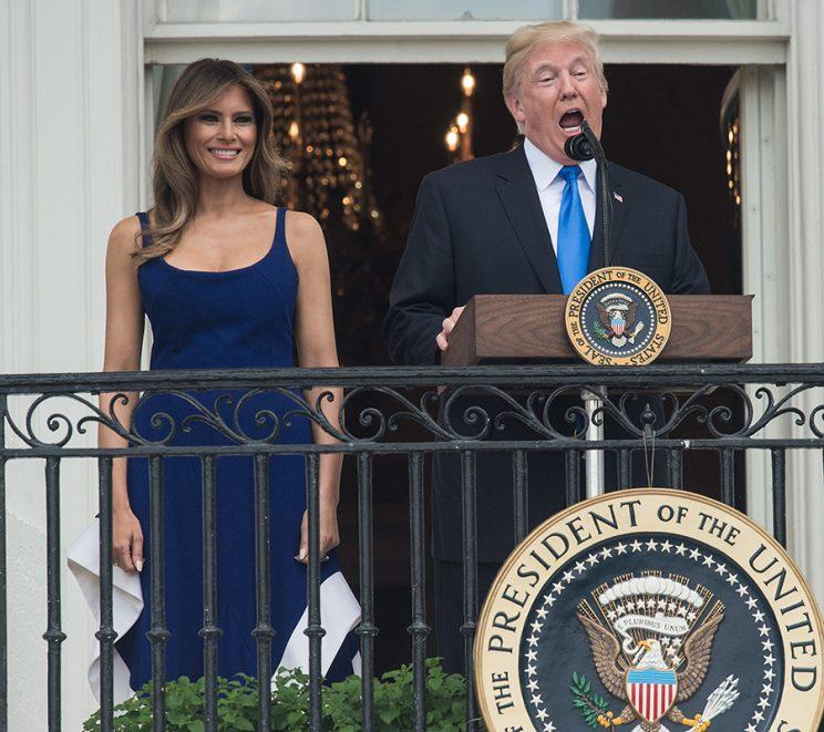 The First Lady and President Trump addressing attendees of their Fourth of July celebration. (Photo: Getty Images)