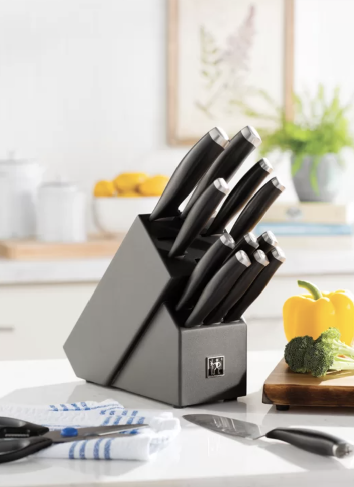 This rust-resistant set comes with a full set of micro-serrated knives. (Photo: Wayfair)