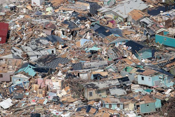 PHOTO: An aerial view of damage caused by Hurricane Dorian is seen on Great Abaco Island on Sept. 4, 2019 in Great Abaco, Bahamas. (Scott Olson/Getty Images)
