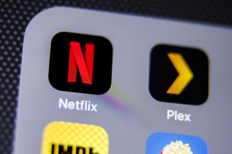 La Habra, United States - August 2, 2016: Macro closeup image of Netflix app icon among other icons on an iphone smartphone device.