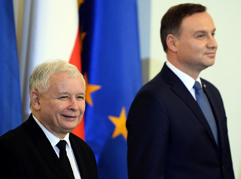 The measure is the latest controversial legislation introduced by the ruling Law and Justice (PiS) party of Jaroslaw Kaczynski (L), pictured with Polish President Andrzej Duda (R) on November 13, 2015