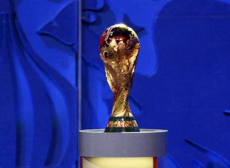 The World Cup trophy is seen during the preliminary draw for the 2018 FIFA World Cup at Konstantin Palace in St. Petersburg, Russia, in this file picture taken July 25, 2015. REUTERS/Stringer/Files