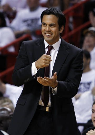 Miami Heat coach Erik Spoelstra gestures during the second half of Game 7 of the NBA basketball playoffs Eastern Conference finals against the Boston Celtics, Saturday, June 9, 2012, in Miami. (AP Photo/Lynne Sladky)