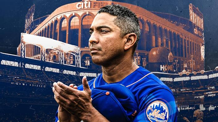 Luis Rojas treated image, blue jersey and clapping in front of orange Citi Field