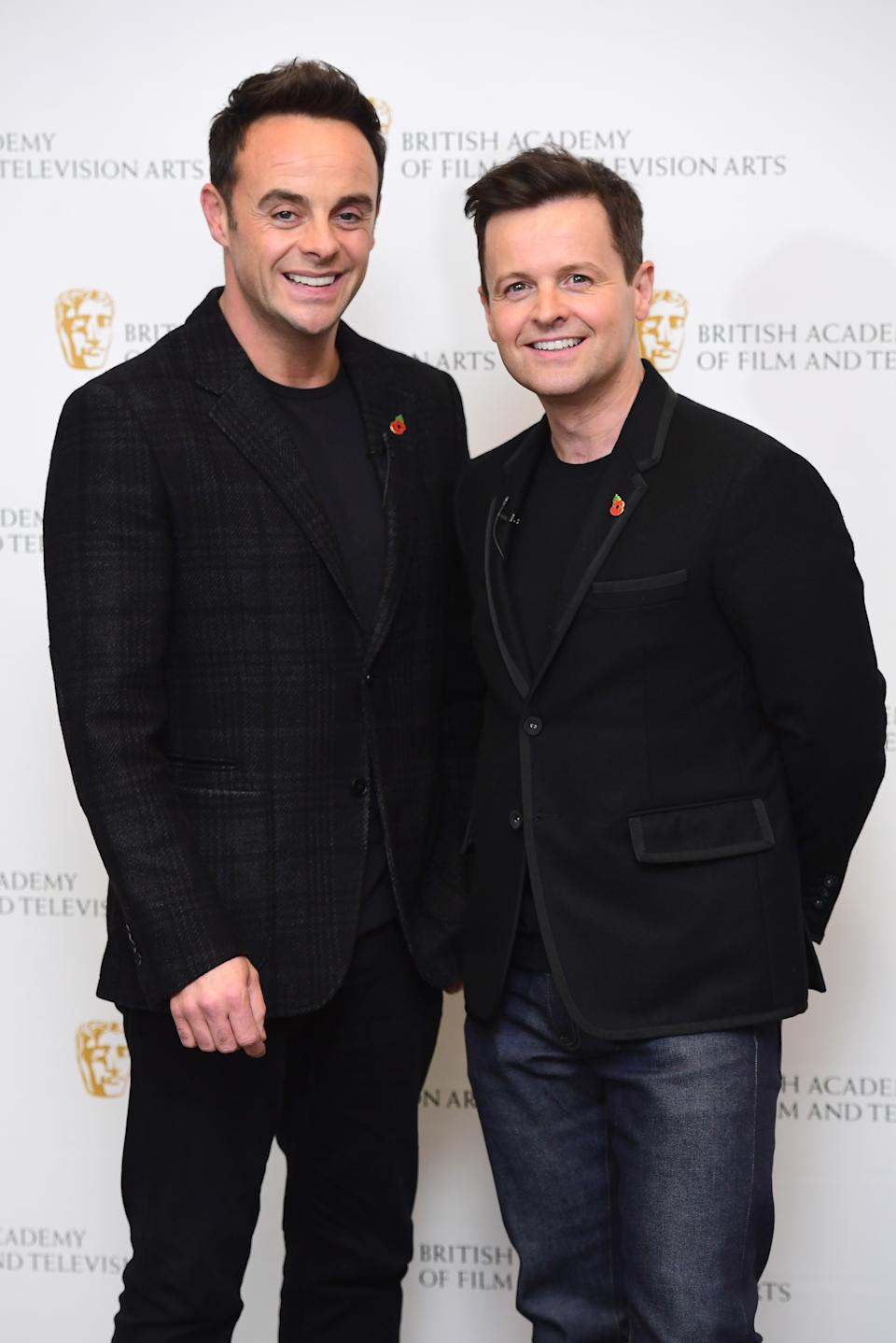 Anthony McPartlin and Declan Donnelly at a BAFTA TV preview of Ant and DecÕs DNA Journey held at the Barbican Centre in London. (Photo by Ian West/PA Images via Getty Images)