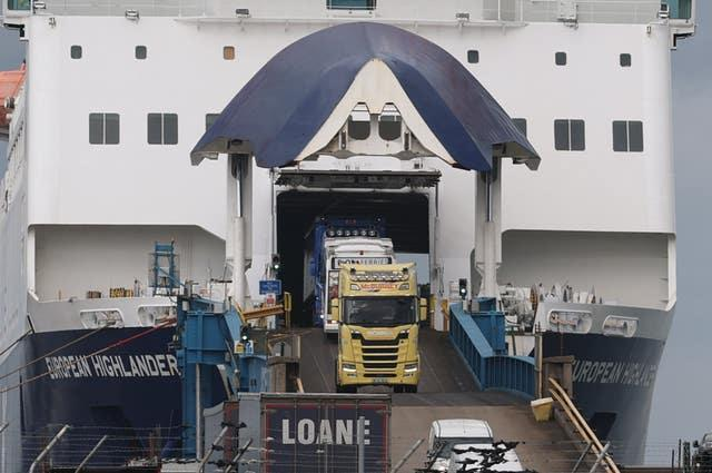 Lorries driving off the European Highlander P&O ferry at the Port of Larne (Liam McBurney/PA)