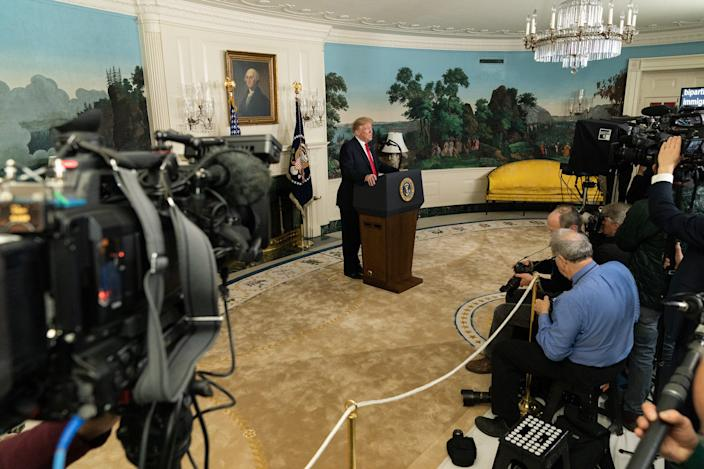 President Donald J. Trump addresses his remarks on the humanitarian crisis on our southern border and the partial government shutdown Saturday, January 19, 2019, in the Diplomatic Reception Room of the White House.
