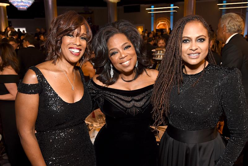 Gayle King, Oprah Winfrey, and Ava DuVernay made up the cool girl table at the Golden Globes. (Photo: Michael Kovac/Getty Images for Moet & Chandon)