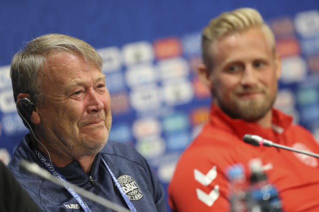 Denmark headcoach Age Hareide smiles as he answers journalists during Denmark's official press conference at the eve of the group C match between France and Denmark at the 2018 soccer World Cup in the Luzhniki Stadium in Moscow, Russia, Monday, June 25, 2018. (AP Photo/David Vincent)
