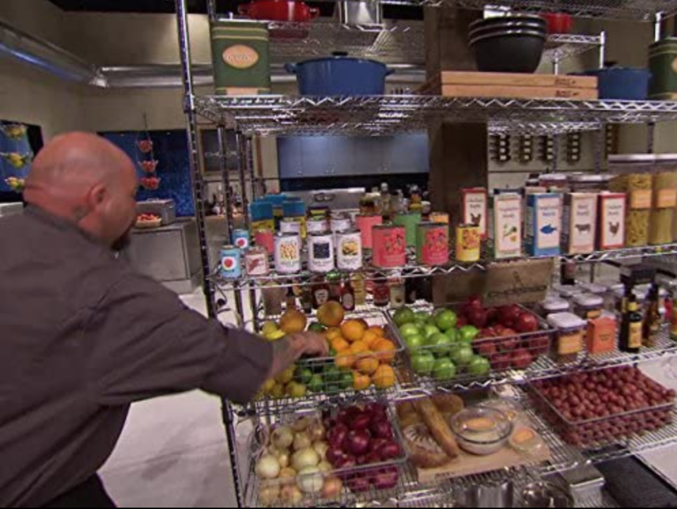 """<p>There are more than 70 food items inside, including """"various herbs, whole milk and heavy cream, fresh berries and butter,"""" according to the <a href=""""https://www.foodnetwork.com/shows/chopped/photos/an-insiders-tour-of-the-chopped-set"""" rel=""""nofollow noopener"""" target=""""_blank"""" data-ylk=""""slk:Food Network"""" class=""""link rapid-noclick-resp"""">Food Network</a>. Fresh fruit, vegetables, and more is available in the pantry. </p>"""