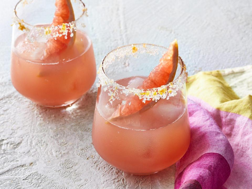 """<p><strong>Recipe: <a href=""""https://www.southernliving.com/recipes/salty-dog-cocktail"""" rel=""""nofollow noopener"""" target=""""_blank"""" data-ylk=""""slk:Salty Dog Cocktail"""" class=""""link rapid-noclick-resp"""">Salty Dog Cocktail</a></strong></p> <p>This classic gin cocktail presents a fabulous opportunity to dilute a little bit with Twist of Grapefruit Topo Chico in order to be able to drink more, enjoy longer, and drag out the good times.</p>"""