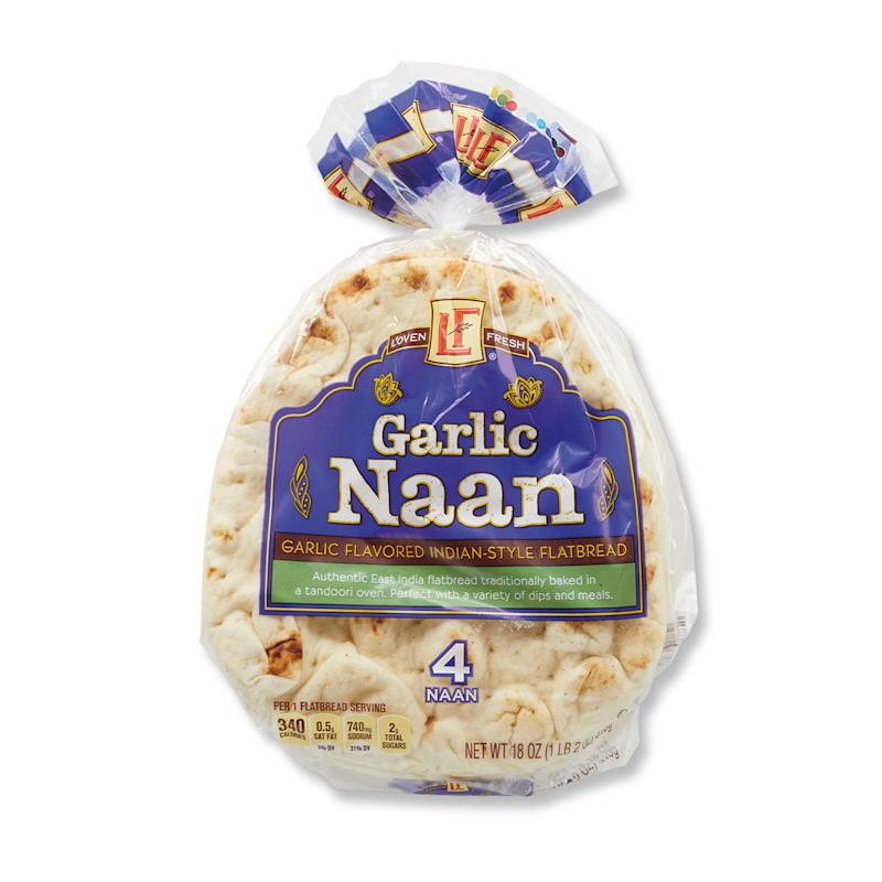 Package of garlic naan on white background